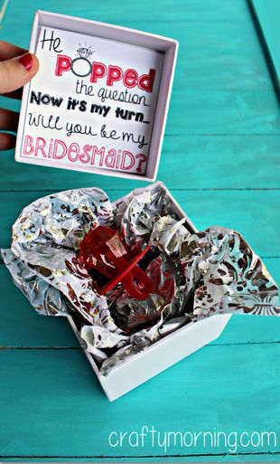 """He Popped The Question..."" Bridesmaid Ring Pop Idea + Free Printable Tag #How to ask your bridesmaids to be in your wedding 