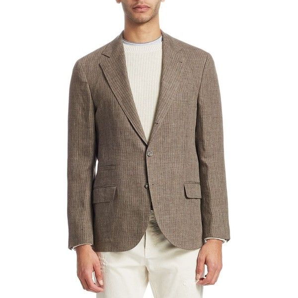 Brunello Cucinelli Stripe Linen Jacket ($2,525) ❤ liked on Polyvore featuring men's fashion, men's clothing, men's outerwear, men's jackets, mens jackets, mens brown jacket, mens linen jacket and mens striped jacket