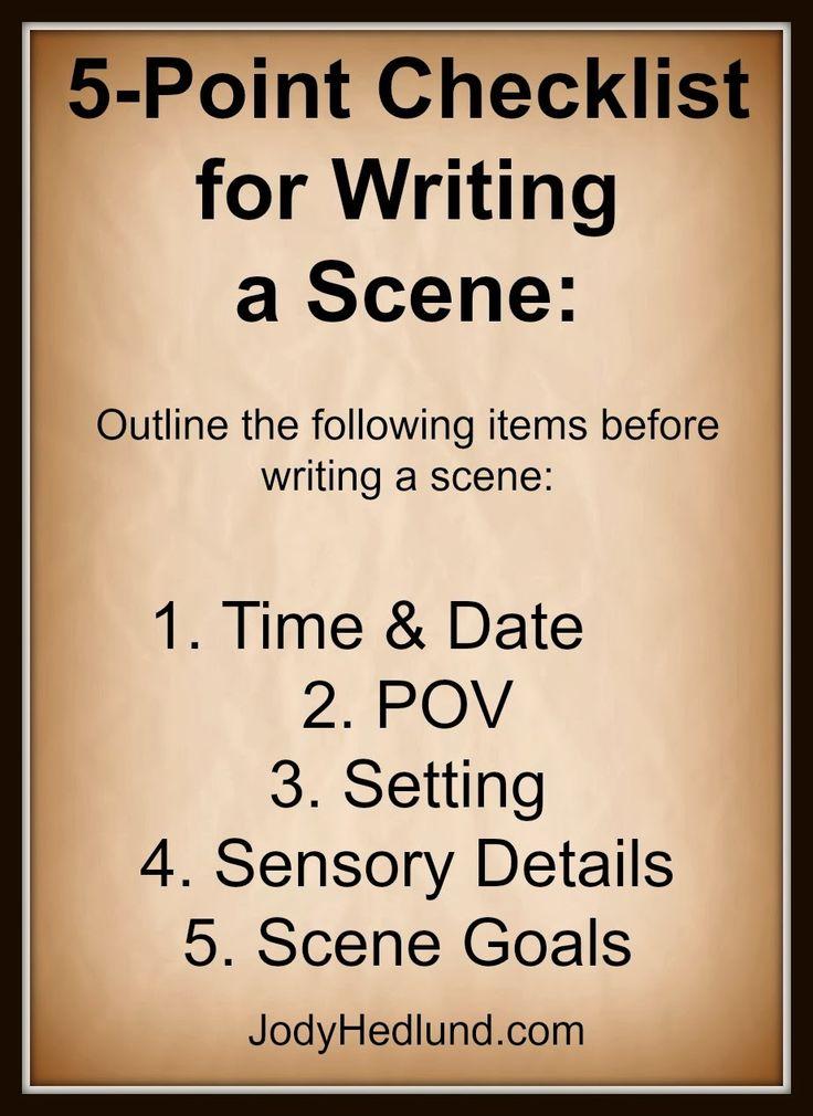 Author, Jody Hedlund: A Quick 5-Point Checklist for Writing a Scene: http://jodyhedlund.blogspot.com/2014/02/a-quick-5-point-checklist-for-writing.html