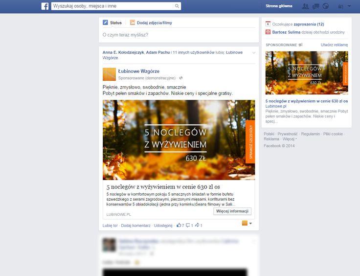 Prowadziliśmy działania promocyjne na Facebooku ośrodka Łubinowe Wzgórze kierujać reklamy do wybranych grup docelowych.