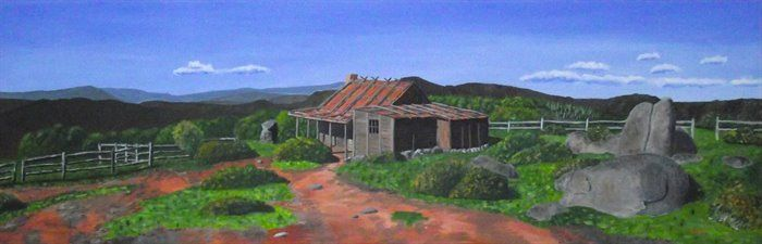 """Craig's Hut Acrylic on canvas 140x38cm Originally built as a movie set for Banjo Paterson's poem """"The Man from Snowy River"""" and a sequel. It burnt down in 2006, but has since been re-built. Located in the high country in central Victoria, a particularly beautiful part of the country. This painting has special meaning to me, in that it is a part of the world I will often ride to, or dream about. Also this place just oozes High Country Australiana."""