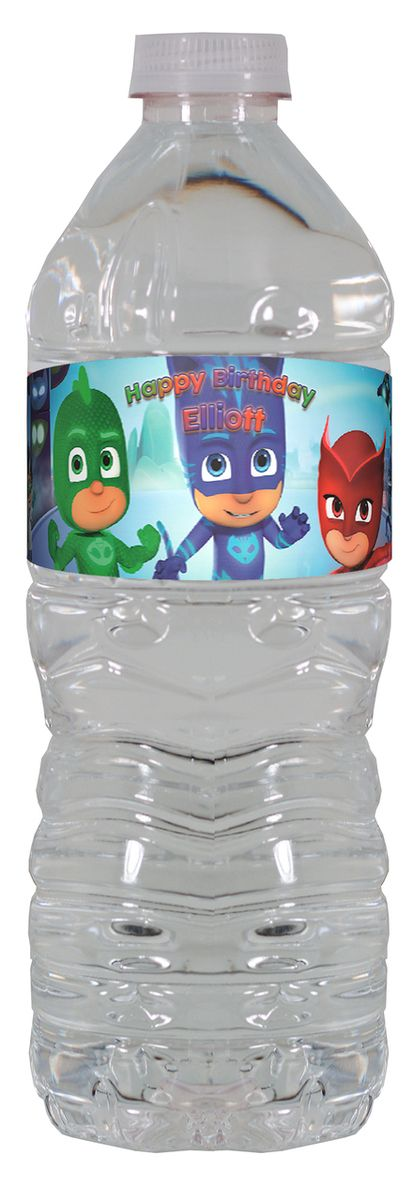 PJ Masks personalized water bottle labels – worldofpinatas.com