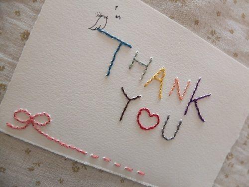 あなただけの一点もの?!刺繍メッセージカード ♥『THANK  YOU  』