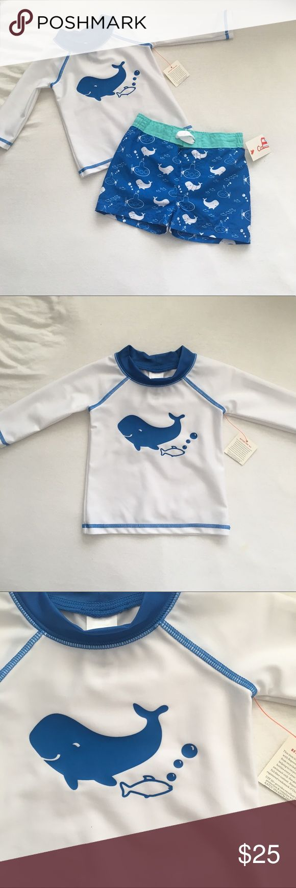 Boys blue and white whale swimsuit Boys blue and white whale swim trunks and long sleeve swim shirt. NWT.  🍁🍂🍁🍂🍁🍂🍁🍂🍁🍂🍁🍂🍁🍂 Size: fits true to size  Feel free to ask questions! All offers will be considered! I ship within 3 days max! Bundle discount of 15%! Free coupon code for next purchase with each purchase from my closet! Free shipping on bundles over $69 after the bundle discount. Simply offer $7 less on your bundle to cover the cost of shipping cat & jack Swim Swim Trunks