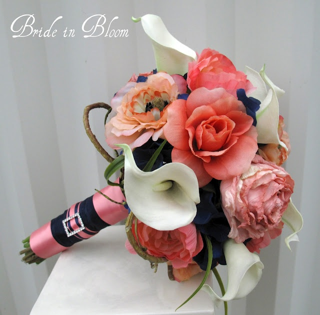 Navy Blue Coral Wedding Bouquets-just the navy with the coral not so much that pink- but nave,white, & coral is pretty