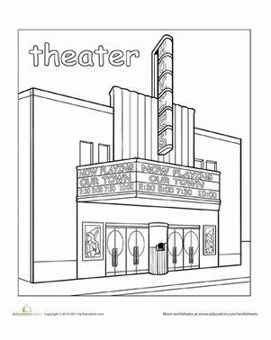 Preschool Places Worksheets: Paint the Town: Theater