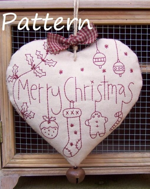 Christmas Redwork Heart Pattern | Need to check out ebay