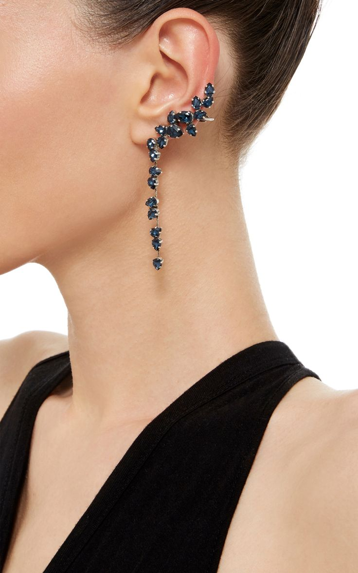 Oxidized Silver Plated Swarovski Crystal Drop Ear Cuff with Stud - Ryan Storer Resort 2016 - Preorder now on Moda Operandi
