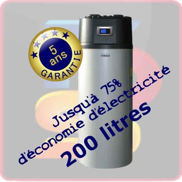 L'achat d'un chauffe eau thermodynamique 200 litres, c'est 2 à 3 fois moins gourmand qu'un chauffe eau électrique. Ballon INOX ECS et groupe pompe à chaleur garanti 5 ans