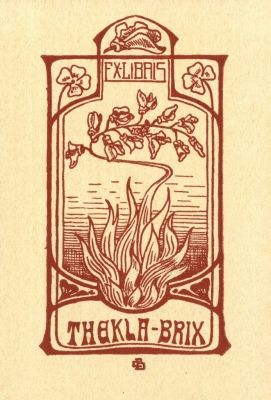 Bookplate by Karl Berkhan for Thekla Brix, 1900c.