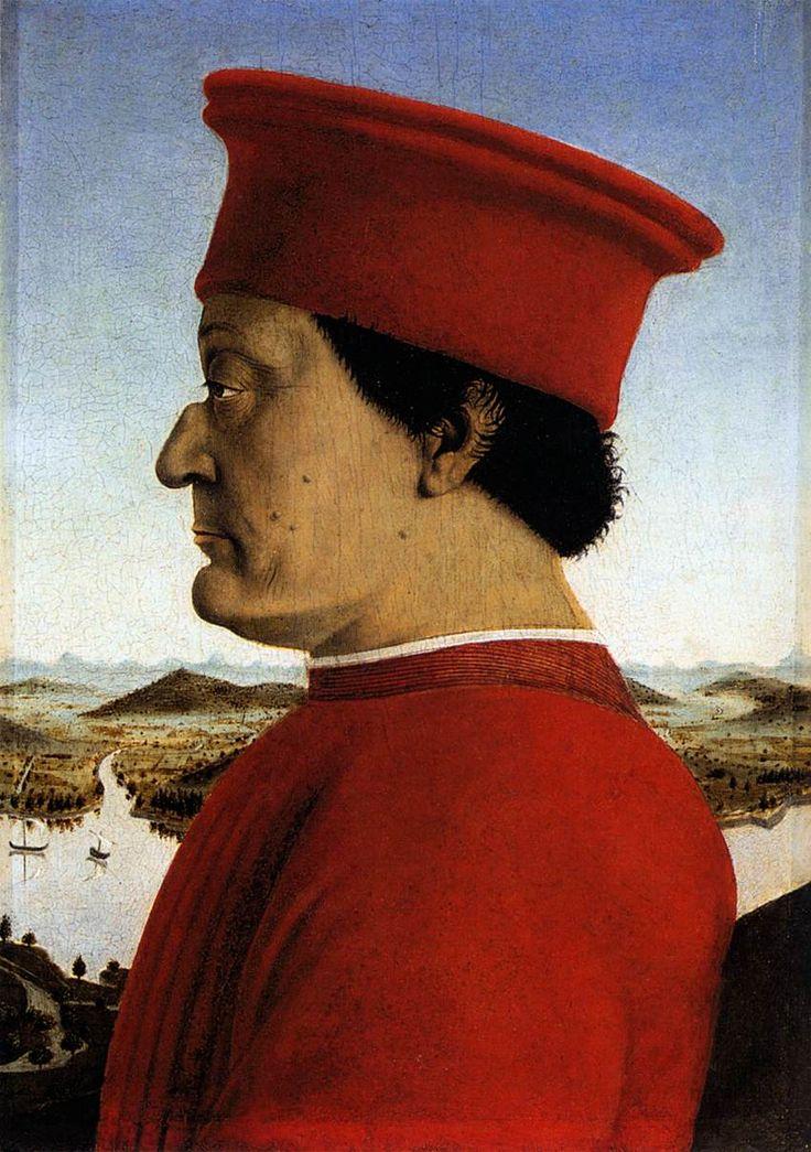 ARTE RINASCIMENTALE: Il Dittico dei Duchi di Urbino - Piero Della Francesca - Ritratto di Federico da Montefeltro (1465-66). Olio su tavola, 47 x 33 cm, Galleria degli Uffizi, Firenze.