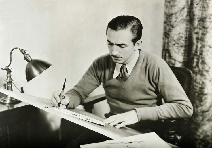 Walt Disney working alone at his drawing board on Jan. 1, 1930. 23 Magical Pictures From The Golden Years Of Disney