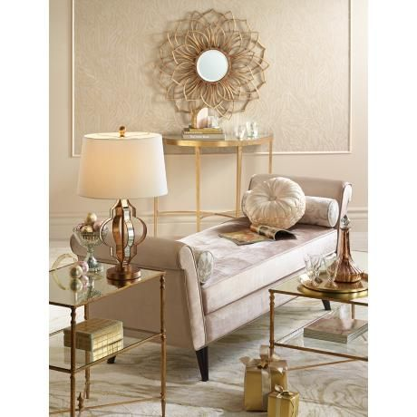 Uttermost Henzler Glass And Gold Leaf Coffee Table Style