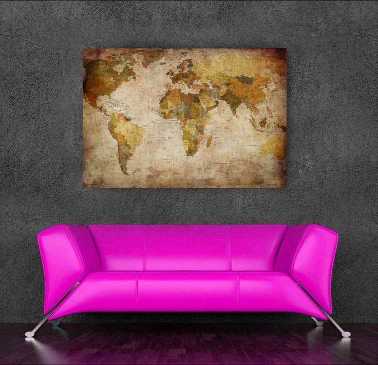 2015 карта мира украшения картина маслом холсте mapa мунди картины для домашнего отделка стен бесплатная доставка купить на AliExpress