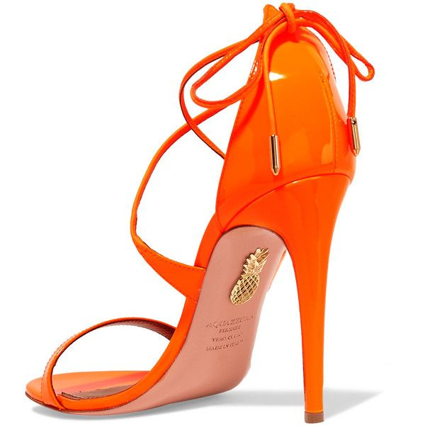 Aquazzura Linda patent-leather sandals ($525) ❤ liked on Polyvore featuring shoes, sandals, high heel shoes, neon sandals, patent leather sandals, neon orange sandals and high heeled footwear