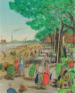 The Boardwalk at Toronto Beaches by William Kurelek, 1927-1977, Canadian artist and writer