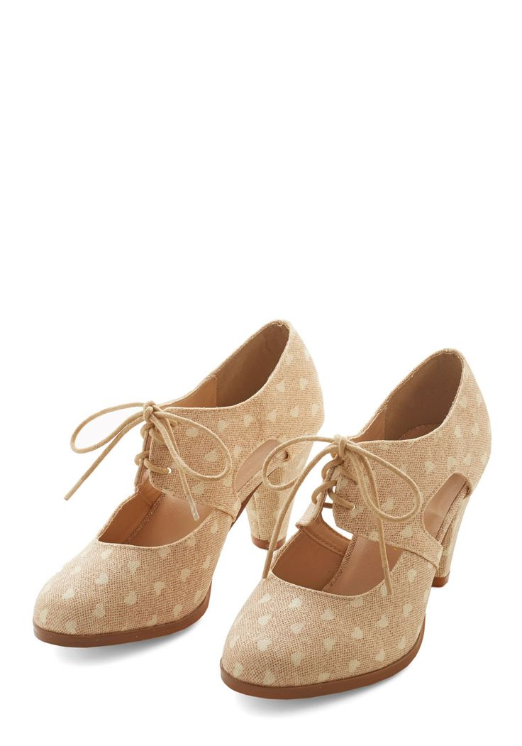 Sincerely Irresistible Heel in Peach. Your genuine fervor for these darling peach heels is evident with every buoyant step you take while wearing them! #tan #modcloth