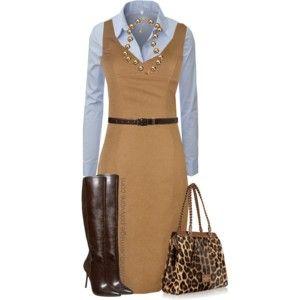 Brown Sheath Dress