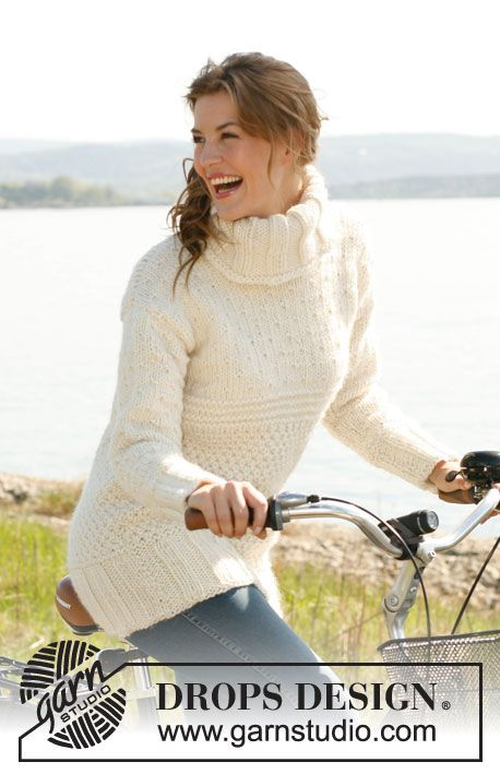 """Long knitted DROPS jumper with textured pattern in """"Eskimo"""" or """"Andes"""". Size: S to XXXL. ~ DROPS Design"""