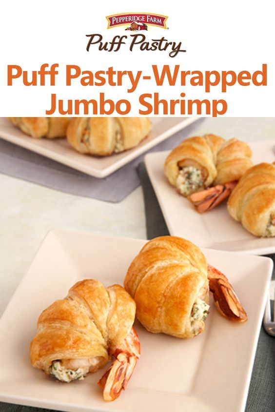 Pepperidge Farm Puff Pastry-Wrapped Jumbo Shrimp Recipe. Want to impress your guests?  Then whip up a batch of  these delectable Puff-Pastry wrapped shrimp stuffed with a mix of cheese, bacon and parsley.  They're superb!