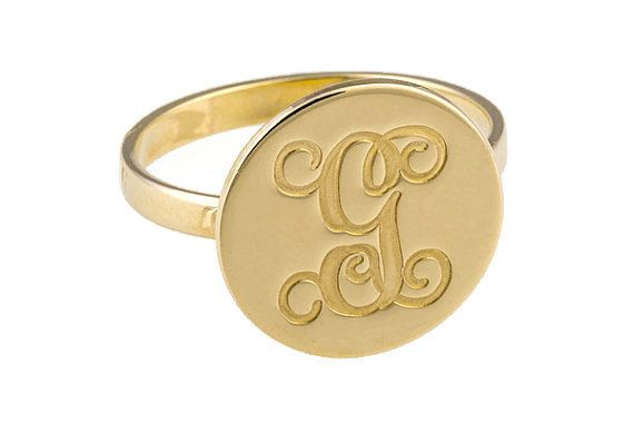 Initial ring. Gold initial ring. Letter ring. Personalized ring. Coin ring. Gold coin ring. Coin letter ring. Initials gold ring. Unisex