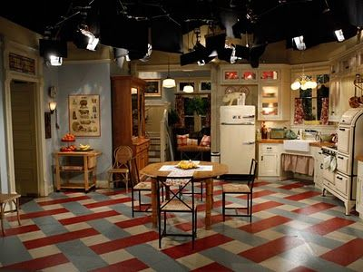 Although it's a set, I love the painted floor in the kitchen!