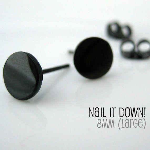 Mens Earrings Black Stud  Earrings for Men Nail It by 360Jewels, $18.00