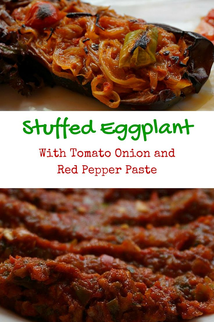 Stuffed Eggplant with Onion, Tomato, Fresh Herbs and Turkish Red Pepper Paste. This dish is a popular appetizer or light lunch in Istanbul Turkey. Enjoy our lightened up version which uses a little less olive oil than the standard version of this vegetarian poached eggplant dish. @venturists
