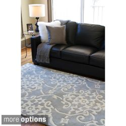 Hand Tufted Grey Floral Rug