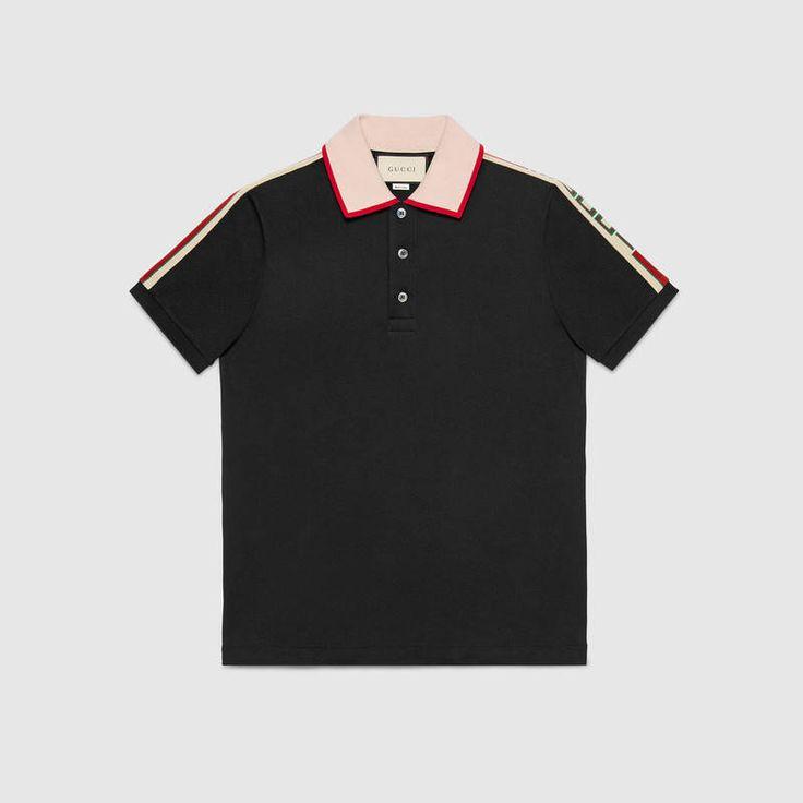 Cotton polo with Gucci stripe