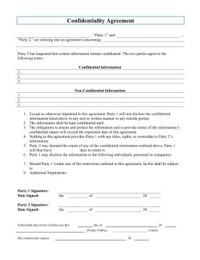 Outline the important procedures regarding the sharing of confidential information with this printable legal form. Free to download and print