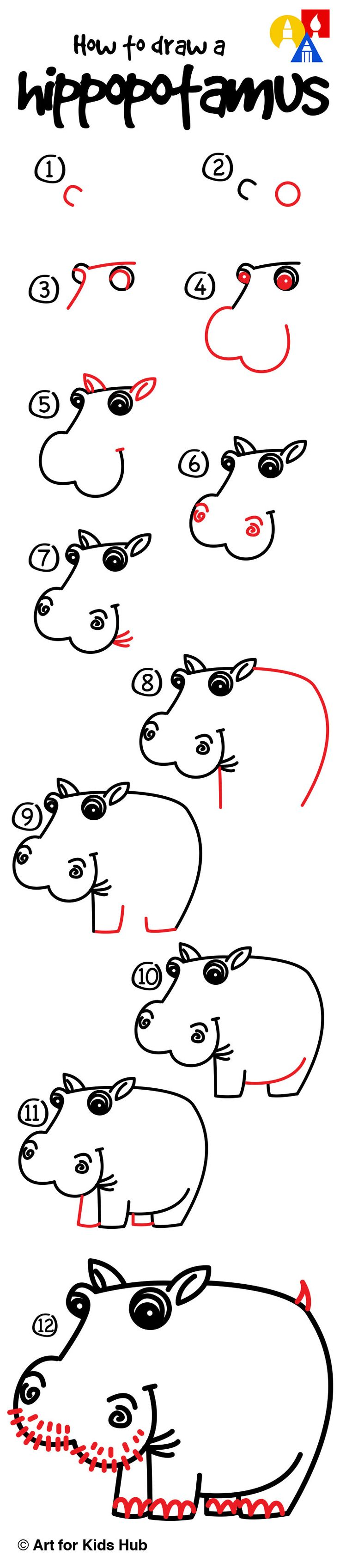 How To Draw A Hippo  Art For Kids Hub