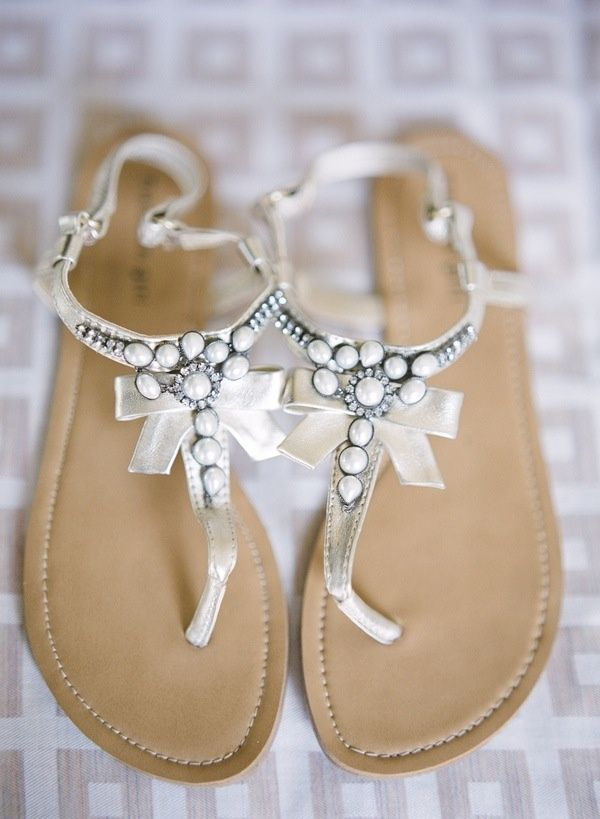 These would make adorable wedding flat sandals!