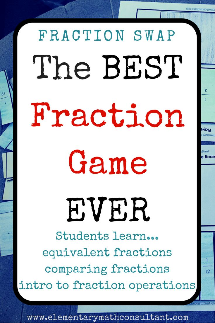 The best way for students to understand fractions is to get hands-on experience. In this game, students are constantly building and deconstructing fractions, finding equivalent fractions, and using their fraction knowledge strategically to win.   Math games are a great way for elementary students to learn!  http://www.elementarymathconsultant.com/teaching-fractions-introduce-fraction-concepts/
