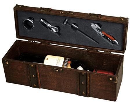 This Wooden Wine Treasure Chest with one bottle of wine. Includes a waiter's knife, a wine thermometer, a pourer and drip stopper.  #brandability #corporategift #wineset