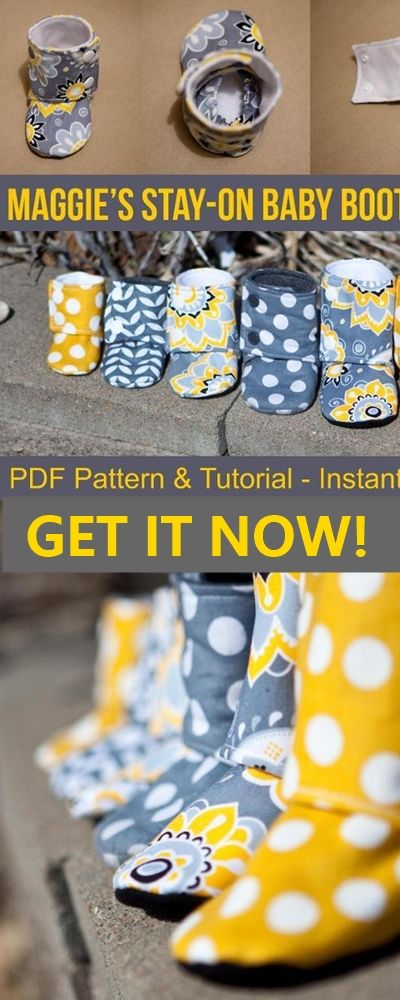 Baby's stay on booties PDF pattern and tutorial. (affiliate link) things to sew for babies | baby winter clothes | baby shoes to sew