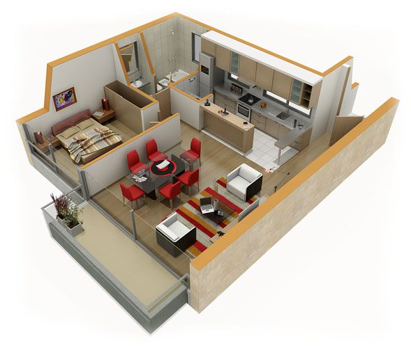 Home Plans 3d: ... And Kitchen 3d Floor Plan