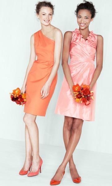 J. Crew bridesmaid - Misha dress in tangerine, Blakely dress in bright guava. Add Nadia dress in misty rose