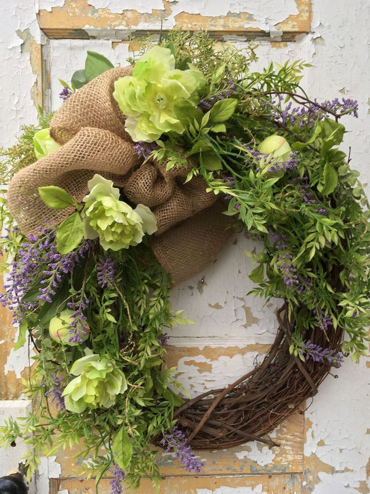 Spring Wreath, Front Door Wreath, Rustic Spring Wreath, Summer Wreath, Spring Decor by FlowerPowerOhio on Etsy