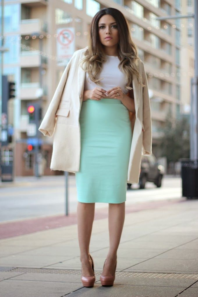 Ashes into Fashion: Kim Kardashian Inspired ( Mint Pencil Skirt + Oversized Coat)