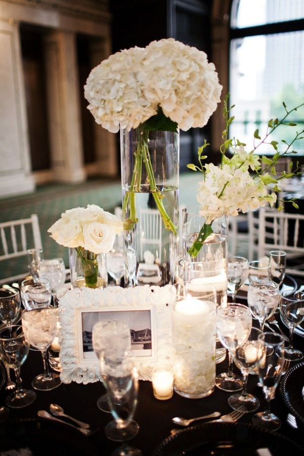 white flowers and details in centerpiece