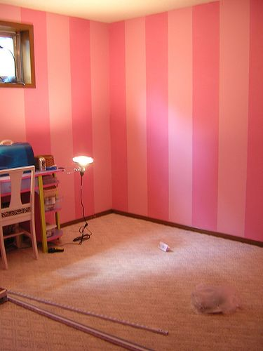 For the girls' room... blush and bashful :) haha... my SIL had pink stripes in her youngest girl's bedroom but they were lighter shades of pink, which is what I'd prefer. This is the general idea though :)