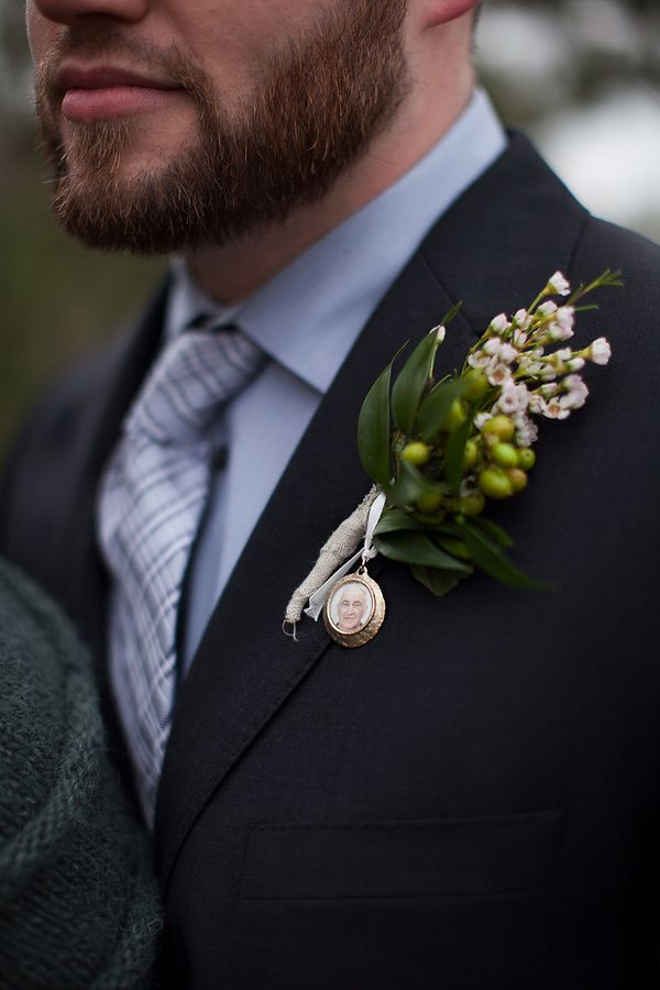 An origami owl locket would be perfect for this! photo locket boutonniere | caroline ross photography