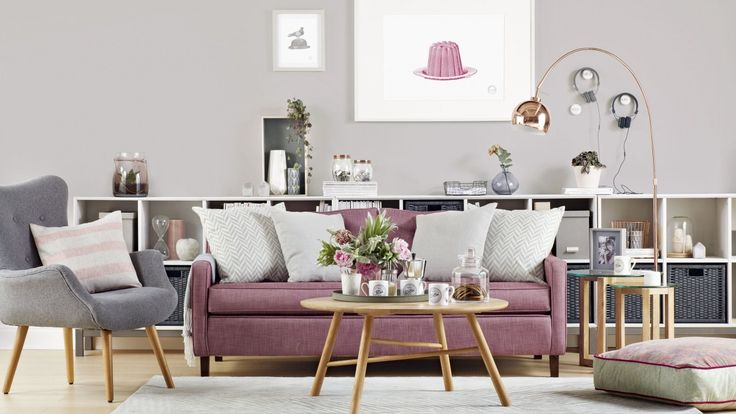 Modern Grey Living Room with Dusky Pink Sofa