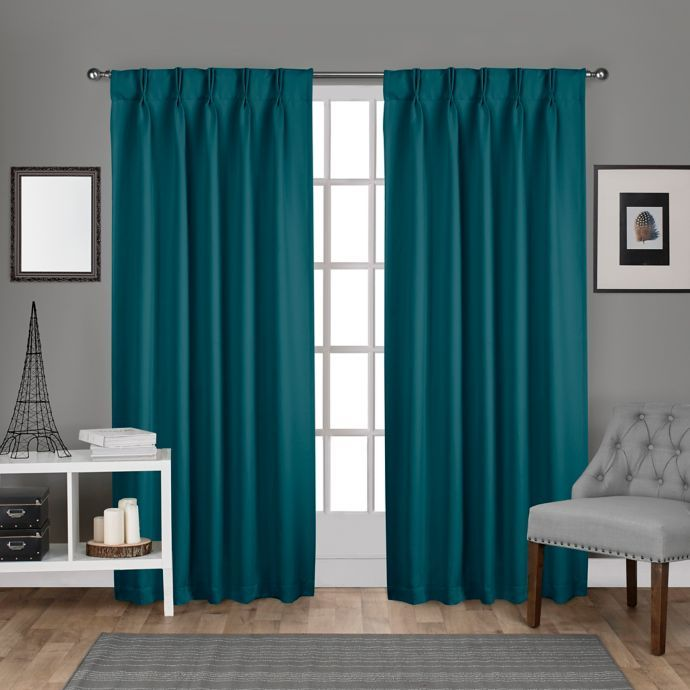 Sateen 2 Pack Pinch Pleat Back Tab Room Darkening Window Curtain