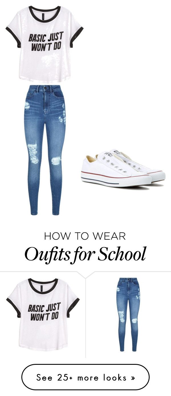 """School "" by rhein03 on Polyvore featuring H&M, Lipsy and Converse"