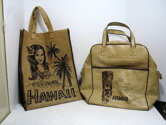 2 Vintage Hawaii Travel Bags Burlap and Vinyl by That70sShoppe