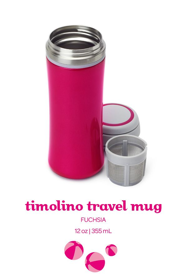 Our classic, leakproof travel mug in a fun hot pink. Perfect for hot or iced tea!
