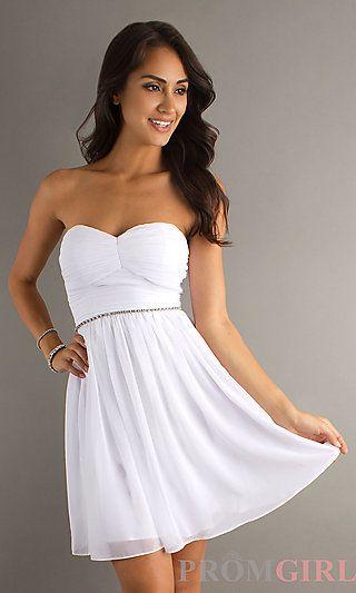 Short Strapless White Dress at PromGirl.com #dress