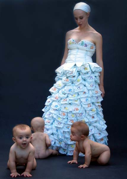 This bride must be very eager on her new journey of starting her own family because she made (unfortunate) use out of a number of packages of baby diapers.